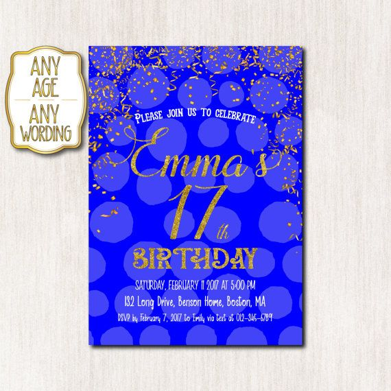 17th Birthday invitation, Royal blue and Gold Birthday invitation card, Teens Invitation, Blue Gold