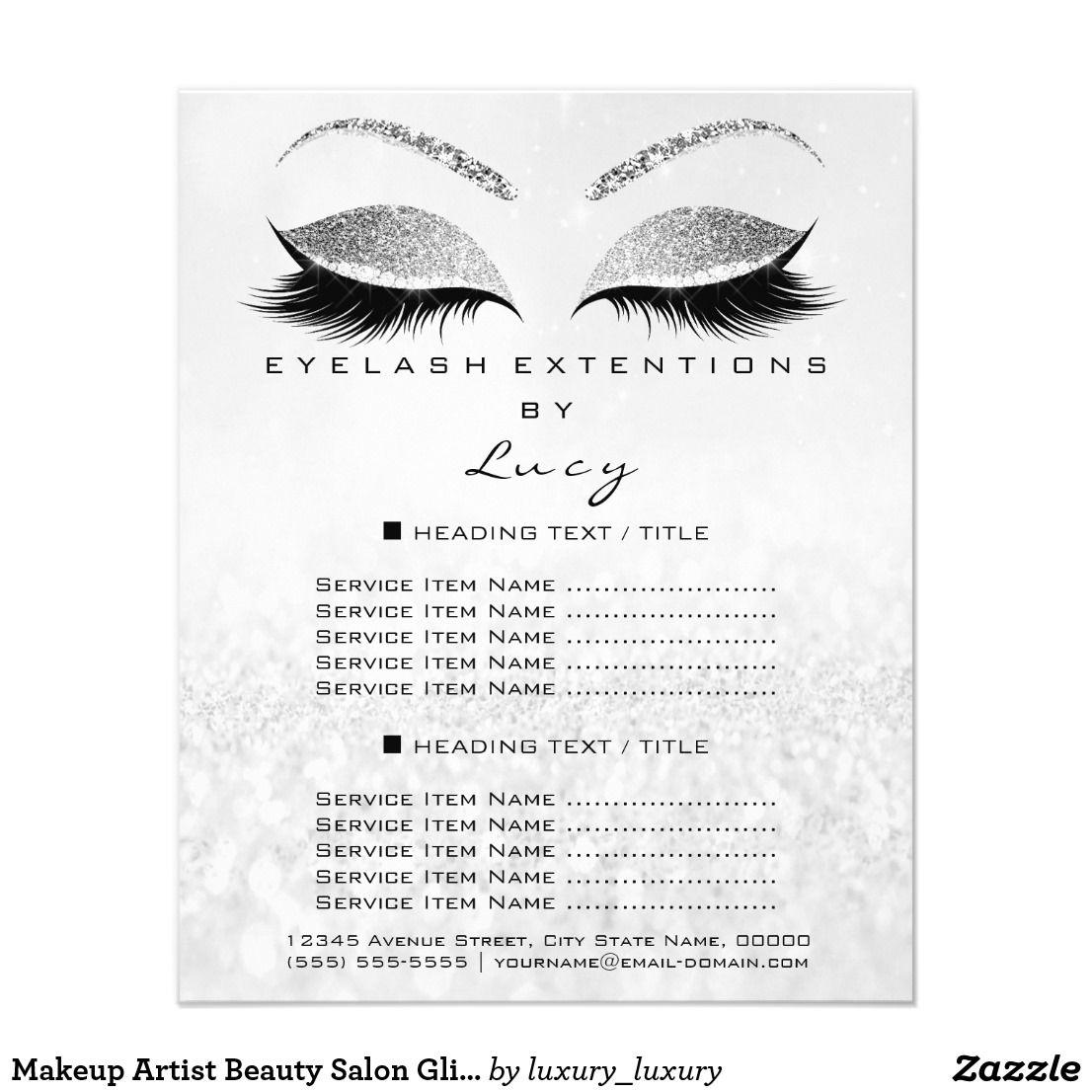 Makeup Artist Beauty Salon Glitter Price List Gray Flyer