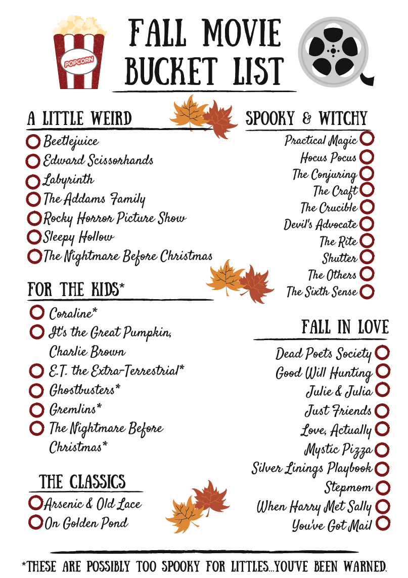 Self-Care: Fall Movie Bucket List! —  Divine Design Nutrition #moviestowatch