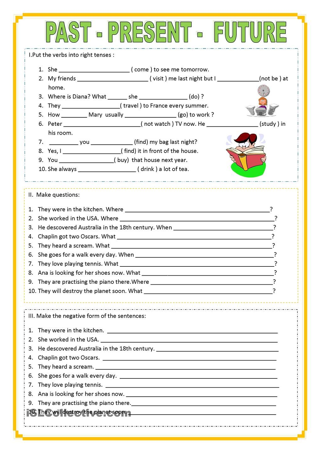 Workbooks writing grammar worksheets : Past_Present_Future | English learning | Pinterest | Future ...