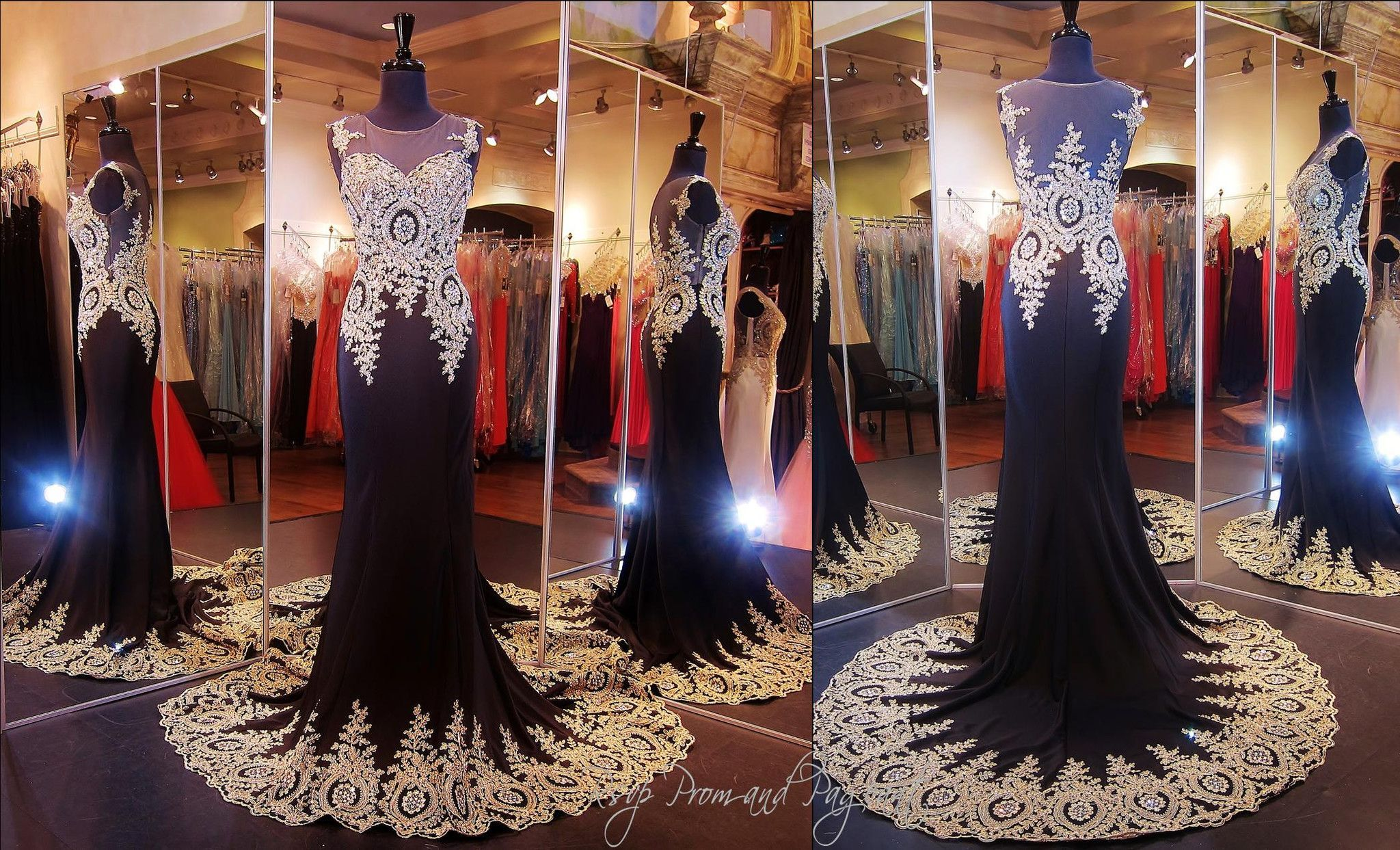 Black-gold-formfitting-pageant-prom-dress-train-illusion-bodice ...
