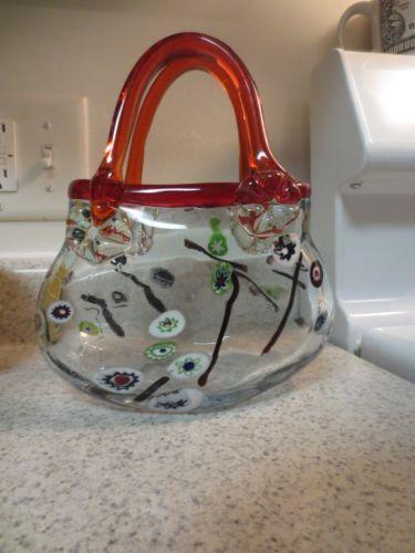 murano glass purse vases | Vintage Murano Art Glass Large Purse Vase Millefiori Red | eBay