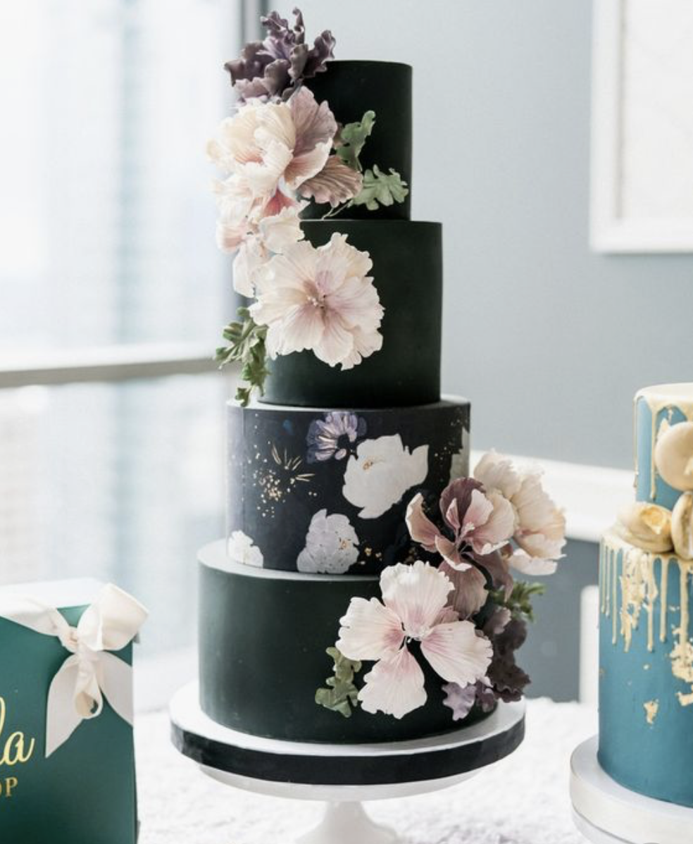 2019 wedding cakes trends icing sugar flowers 2019