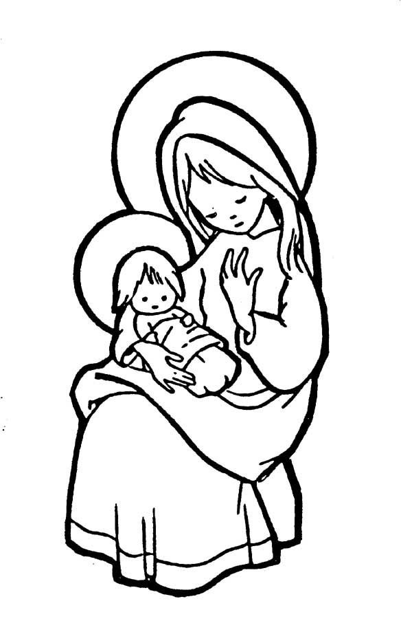 Mary Pondered These Things In Her Heart Catholic Coloring