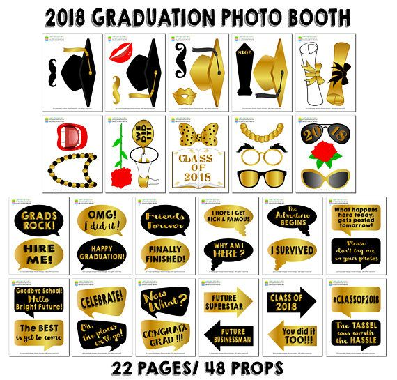 photograph relating to Printable Graduation Photo Booth Props referred to as Printable Commencement Image Booth Props/ 2018 Commencement