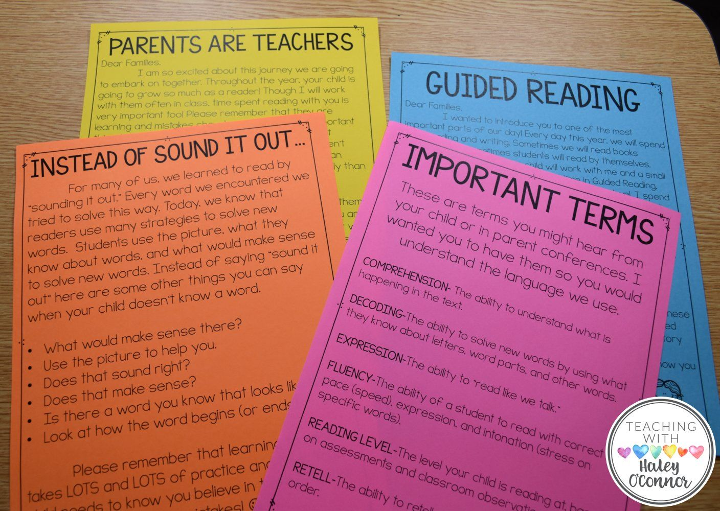 Parent Resources for Guided Reading