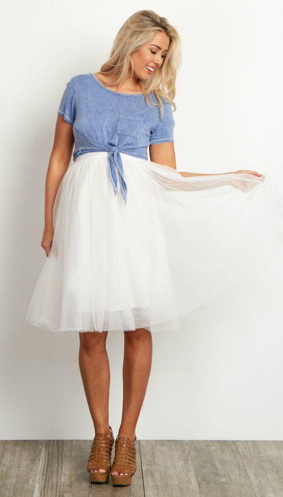 Ivory Tulle Mesh Maternity Midi Skirt