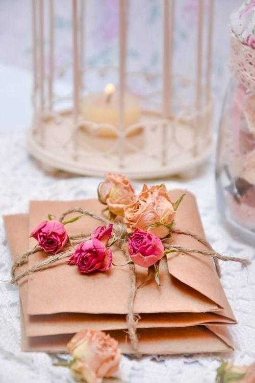 Beautiful Dried Roses Brown Paper Bag Envelopes Raffia Tie