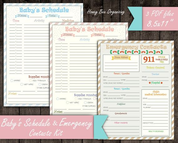 Baby 39 S Schedule Kit Emergency Contacts List Baby Daily Routine Log Nanny Log Baby Chart Infant Care Pr Baby Shower Quiz Agenda Template Baby Care