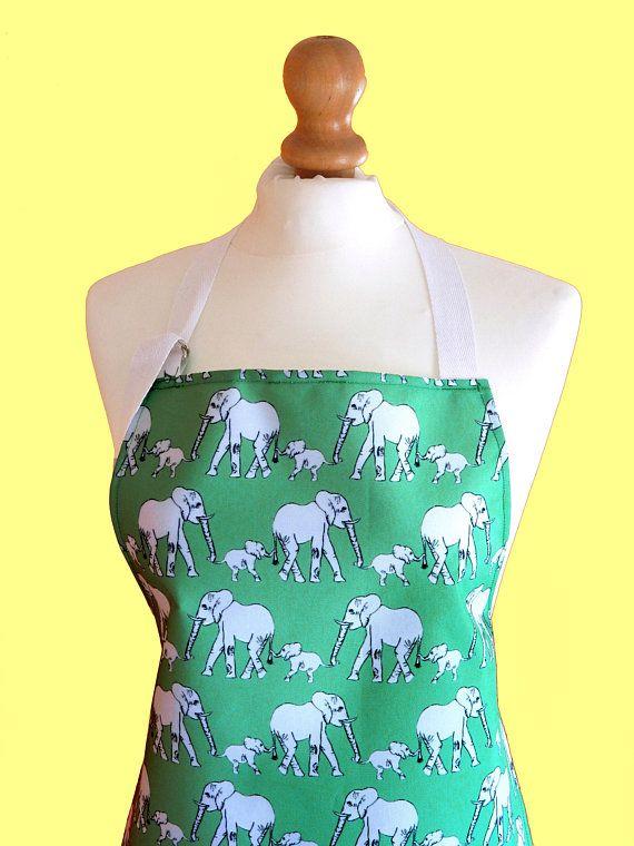 Elephant Apron   Wipeable Pinny   Elephant Gift   Unique Elephant Print  Fabric   Wipe Clean