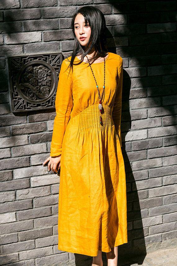 1e283c9d23a9 evening dress in yellow with pleated empire waist, maxi linen dress, long  sleeve cocktail dress, party dress, boho dress, linen winter dress