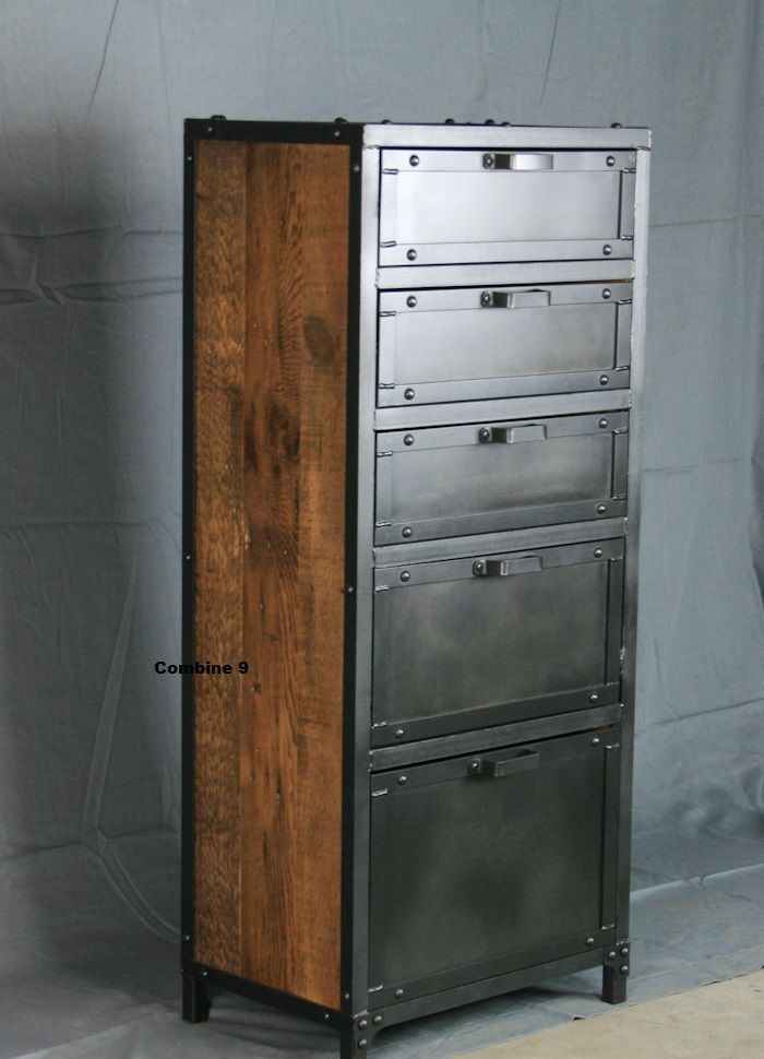 Custom made vintage industrial lingerie chest roldan for Muebles industriales vintage
