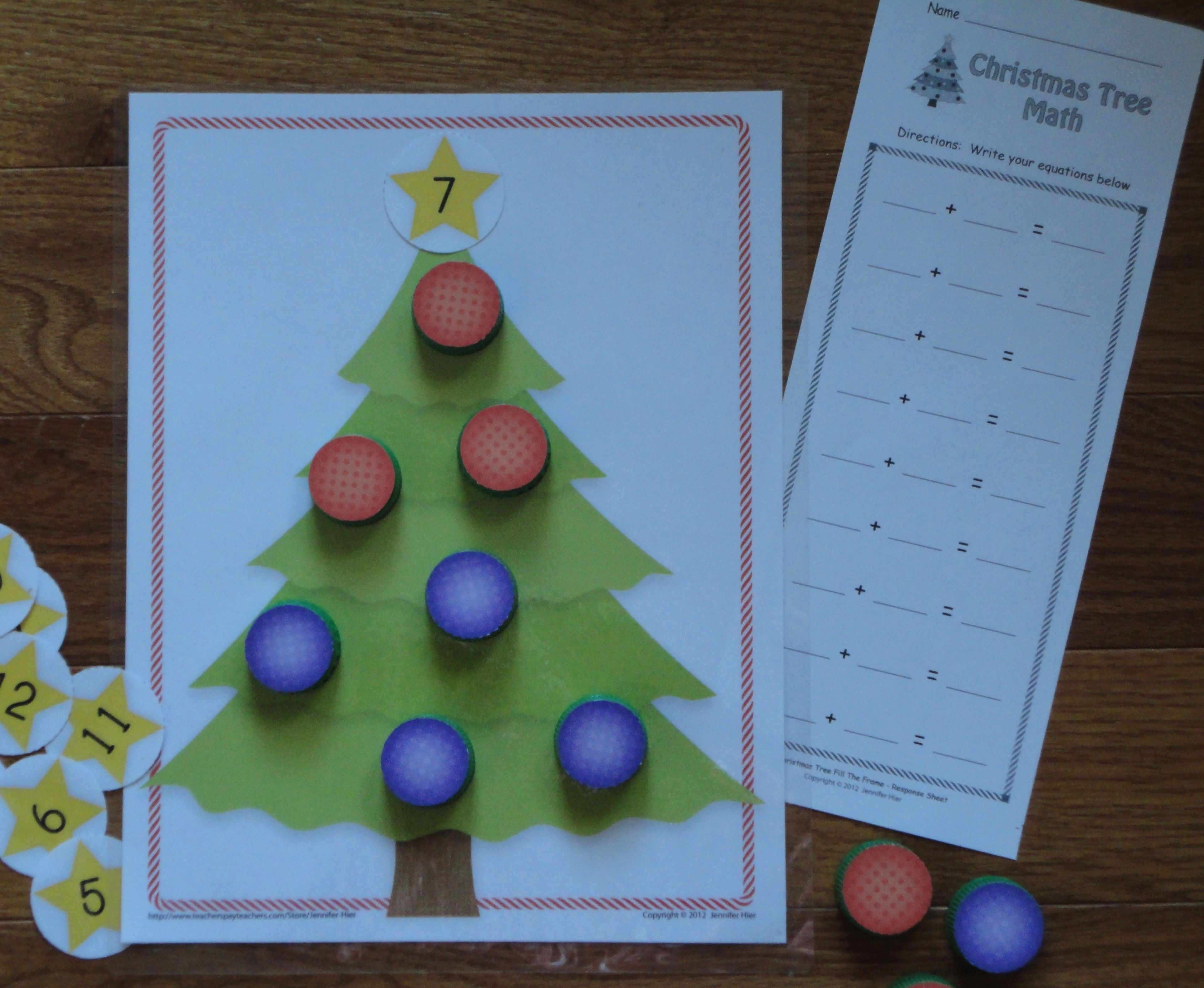 Christmas Math Activities: Christmas Tree Math Play Dough Mat | TpT ...