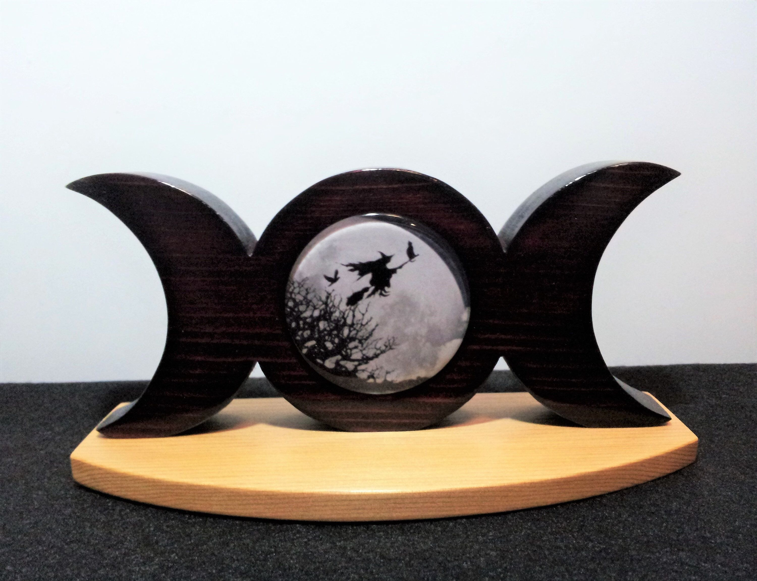 Witch Triple Moon made from mahogany stained cedar wood, altar piece, spiritual, pagan, wiccan decor, goddess symbolism, witchcraft #wiccandecor Excited to share this item from my #etsy shop: Witch Triple Moon made from mahogany stained cedar wood, altar piece, spiritual, pagan, wiccan decor, goddess symbolism, witchcraft #wiccandecor