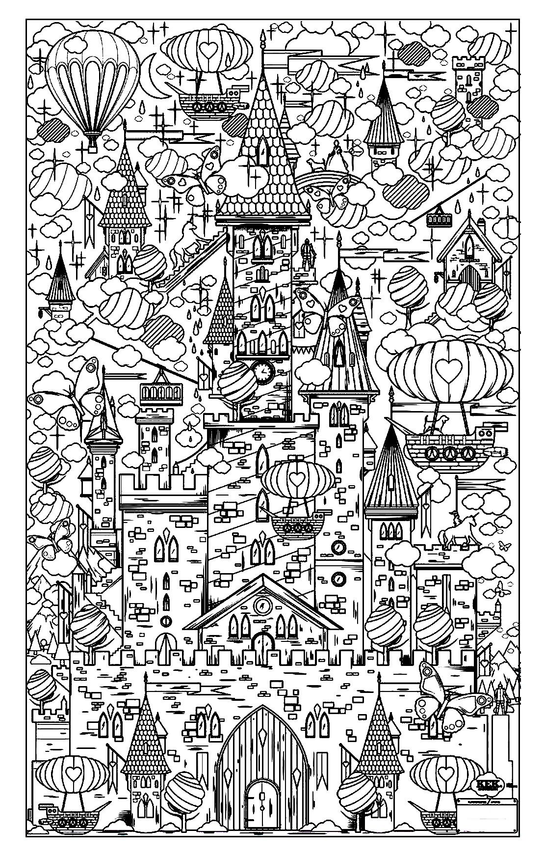 Free coloring page coloring-architecture-17. Vertical city | art ...