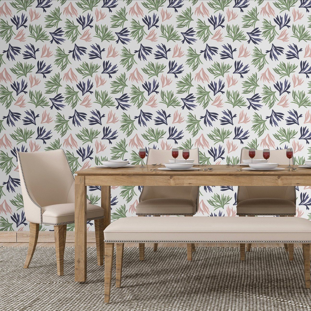 Preppy Coral Peel And Stick Wallpaper Reef Pattern Smooth Walls