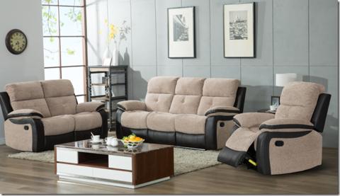 Manhattan Fabric Leather Reclining Full Sofa Set 3 2 Or 3 1 1 Grey Or Brown Sofa Set Lounge Decor Living Room Lounge