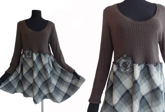 1x 2x Plaid Floral Tunic Sweater XXL Plus Size Womens Recycled Handmade Clothing Charcoal Gray Brown Black