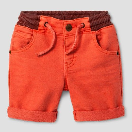 He'll look sharp this summer in the Toddler Boys' Denim Shorts Red Orange - Genuine Kids™. These toddler boys' shorts are bold with a contrasting waist and pocket color.