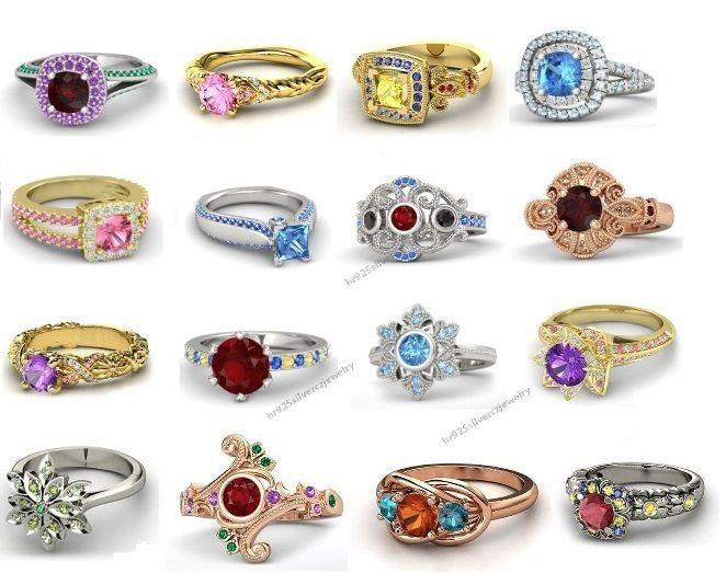 Womens 925 Sterling Silver Multi Color Cz Disney Princess