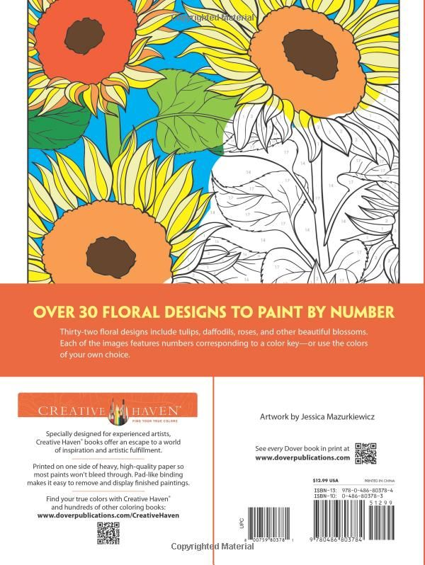 Welcome To Dover Publications Floral Designs Paint By Number Creative Haven Graphic Art Coloring Book