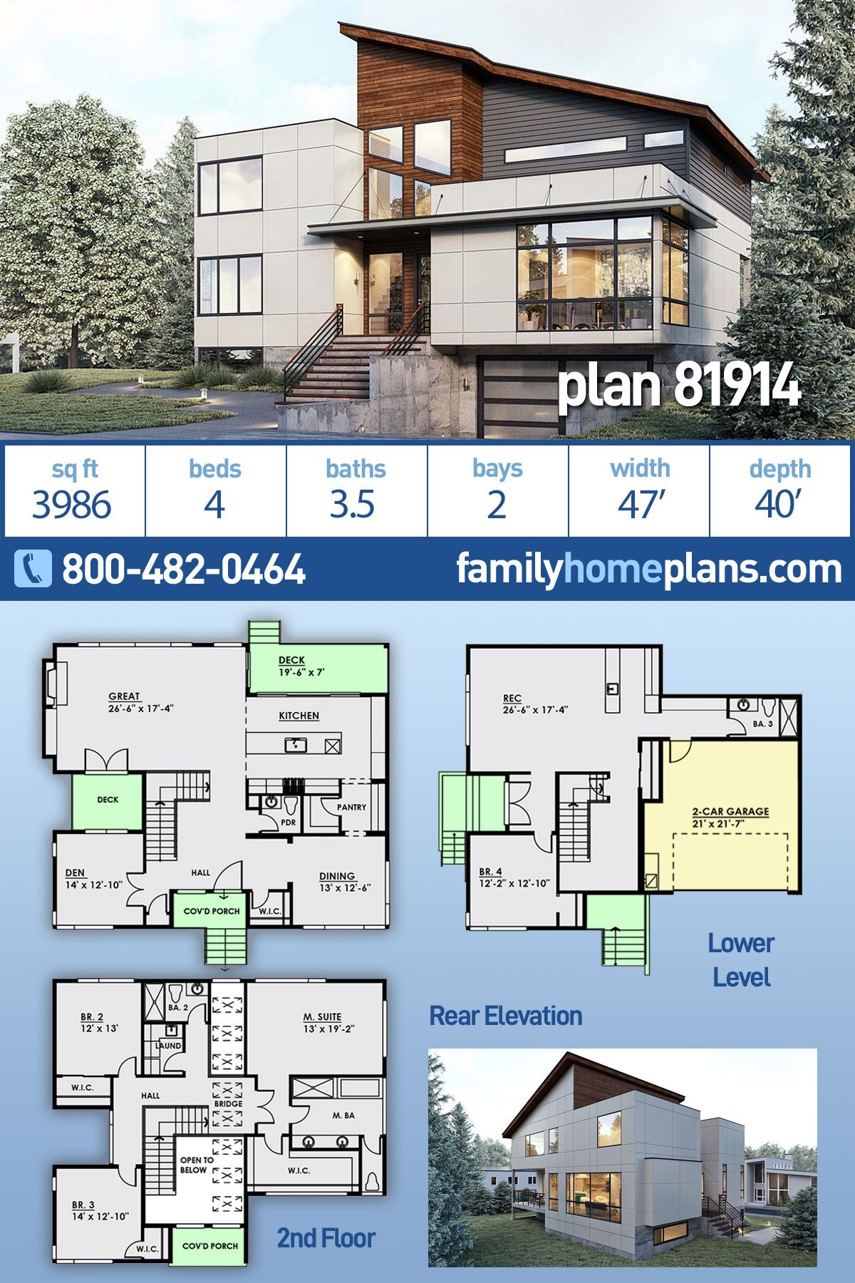 Modern Style House Plan 81914 With 4 Bed 4 Bath 2 Car Garage Modern Style House Plans House Plans Modern House Plans