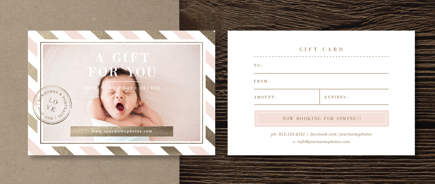 Baby Gift Voucher Template : Newborn photography gift card template gold foil baby