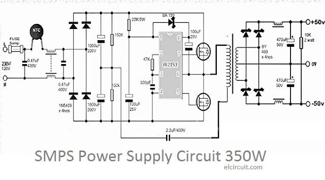 electronic circuit of smps power supply power output up to 350w  see circuit diagram here