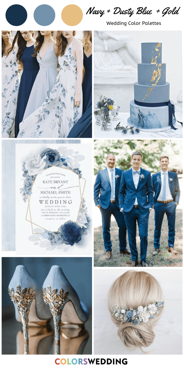 Colors Wedding Top 7 Navy Blue And Gold Wedding Color Combos In 2020 Gold Wedding Colors Navy Blue And Gold Wedding Blue Themed Wedding