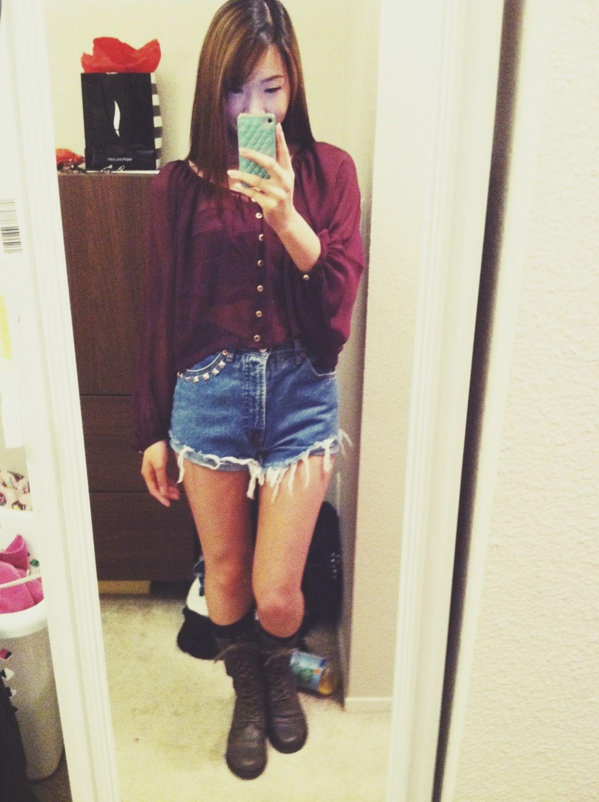 Maroon see thru top, diy high waist shorts, black knee high socks ...
