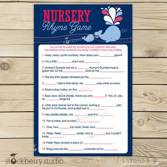 boy whale baby shower nursery rhyme quiz boy baby shower games printable instant download red navy blue nautical baby shower game