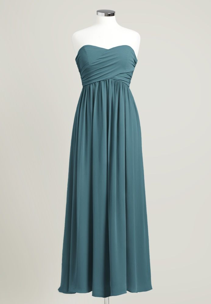 835f3fdf484  45 - Shop sample sale - Peacock Strapless Long Bridesmaid Dress.