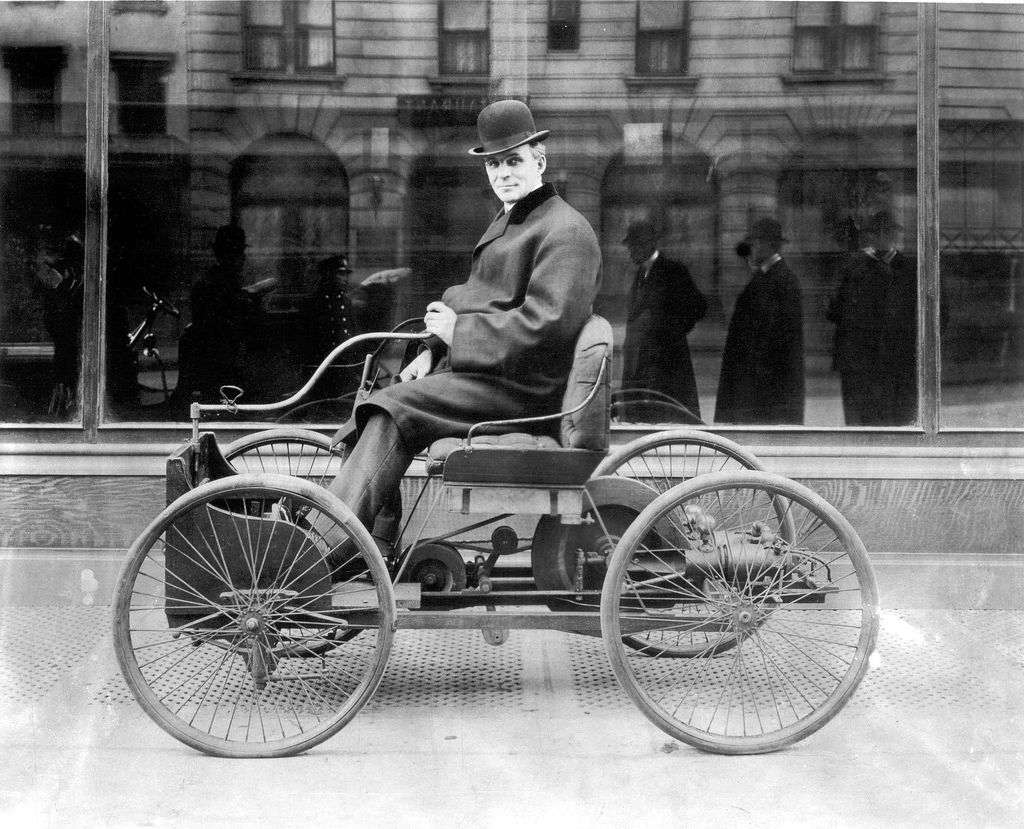 June 1896 henry ford completes the ford quadricycle his first gasoline powered automobile and gives it a successful test run
