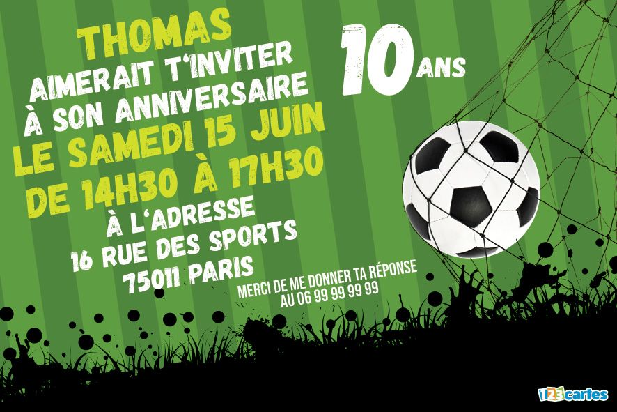 Invitation Anniversaire 10 Ans Passion Football A Personnaliser En