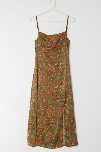 UO Sasha Satin Midi Slip Dress