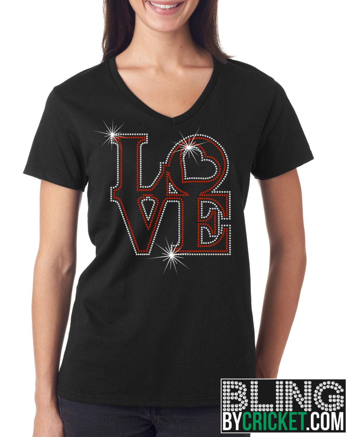 Love Shirt, Valentines Day Bling T-Shirt, V-Day Shirt, Valentines Gift- SHIPS starting Jan 4, 2016 by BlingByCricket on Etsy