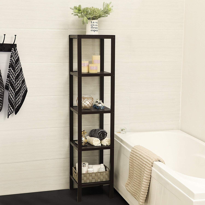 Songmics 100 Bamboo Bathroom Shelf 5 Tier Multifunctional