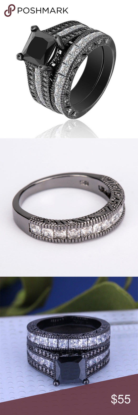 Black Sapphire Elegant Wedding 2pcs Ring Size 7 Black