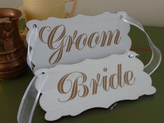 Wedding Chair Signs Bride and Groom Wedding Sign Shabby by Crafu
