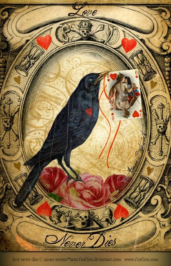 "Crows Ravens:  #Raven ~ ""Love Never Dies,"" by Foxfires (Aimee Stewart), at deviantART.  Elder be ye Lady's tree.  Burn it not or cursed ye'll be."