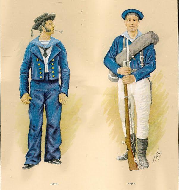 C. Urbez, Marina española 1865-1890, respectivamente.