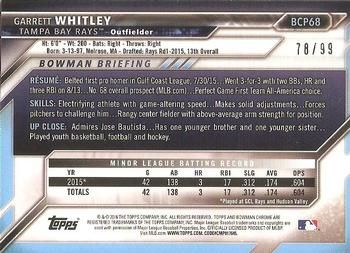2016 Bowman - Chrome Prospects - Green Shimmer Refractor #BCP68 Garrett Whitley Back