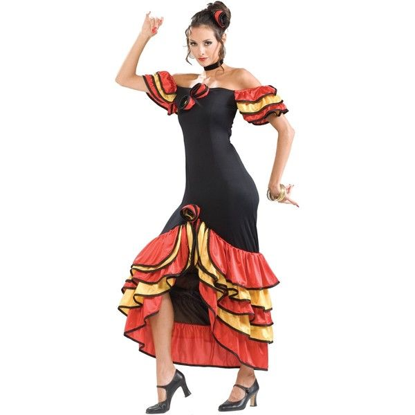 Spanish Lady Adult Costume ($28) ? liked on Polyvore featuring costumes costume halloween costumes senorita costume adult flower costume flower ...  sc 1 st  Pinterest & Spanish Lady Adult Costume ($28) ? liked on Polyvore featuring cos ...
