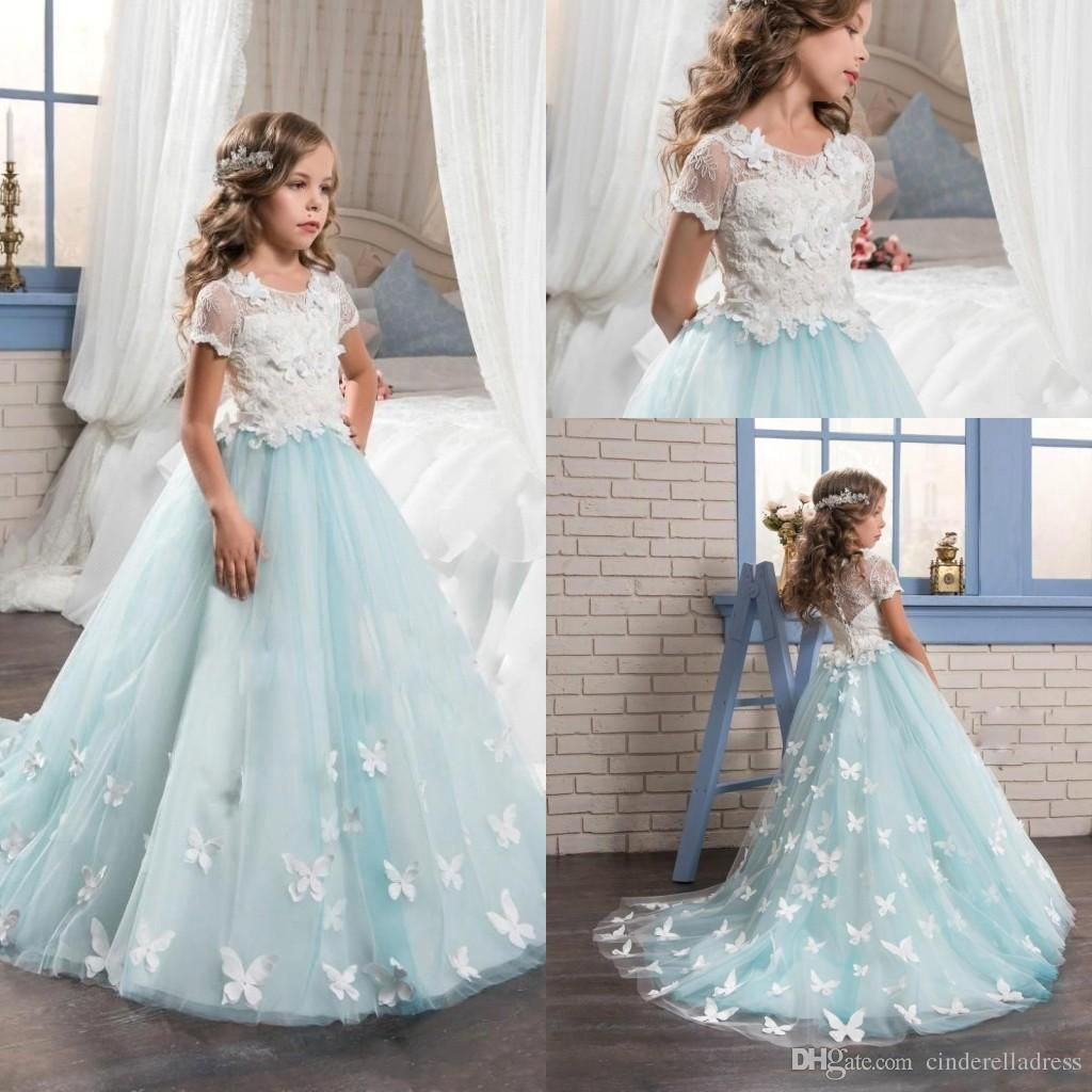 2017 New Mint Flower Girls Dresses with Short Sleeves Full Butterfly ...