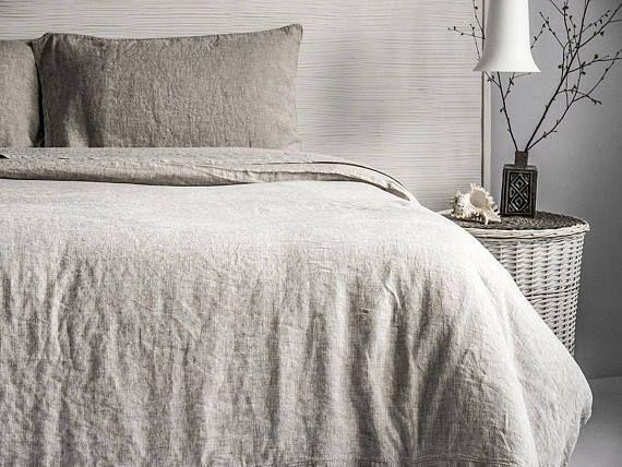 Linen Stone Washed Sheet Set with ruffles pillow shams Super Soft Linen Sheets Set Organic Linen Twin Full Queen CalKing King Double Flax