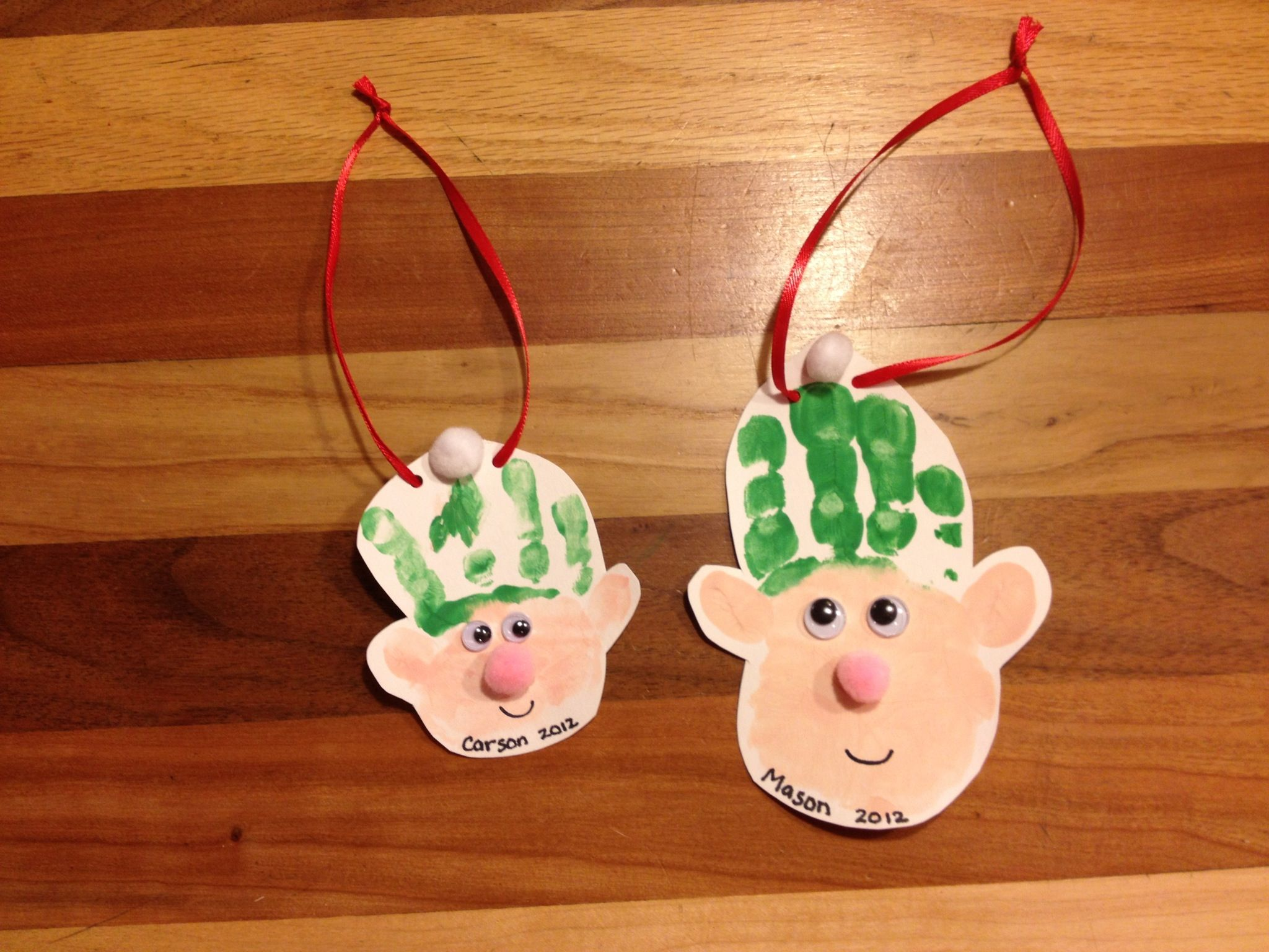 Elf Handprint Ornament