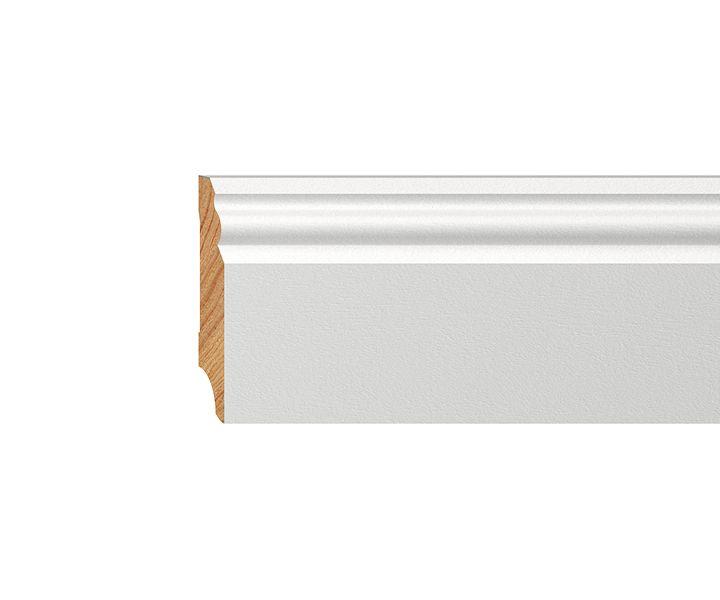 Sockelleisten Weiß Holz sockelleiste massiv weiß lackiert 70mm profiliert sockelleiste