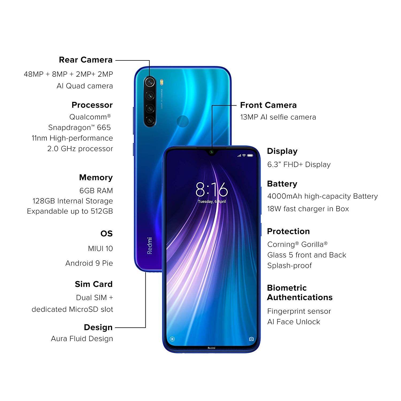 Redmi Note 8 Neptune Blue 4gb Ram 64gb Storage In 2020 4gb Ram Note 8 Gorilla Glass