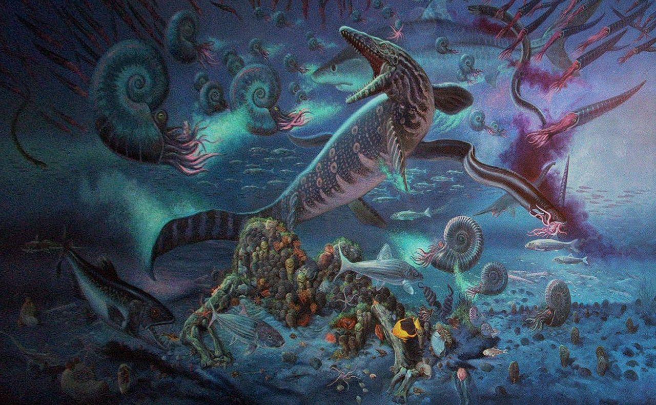 William Stout Cretaceous Seas Prehistoric animals
