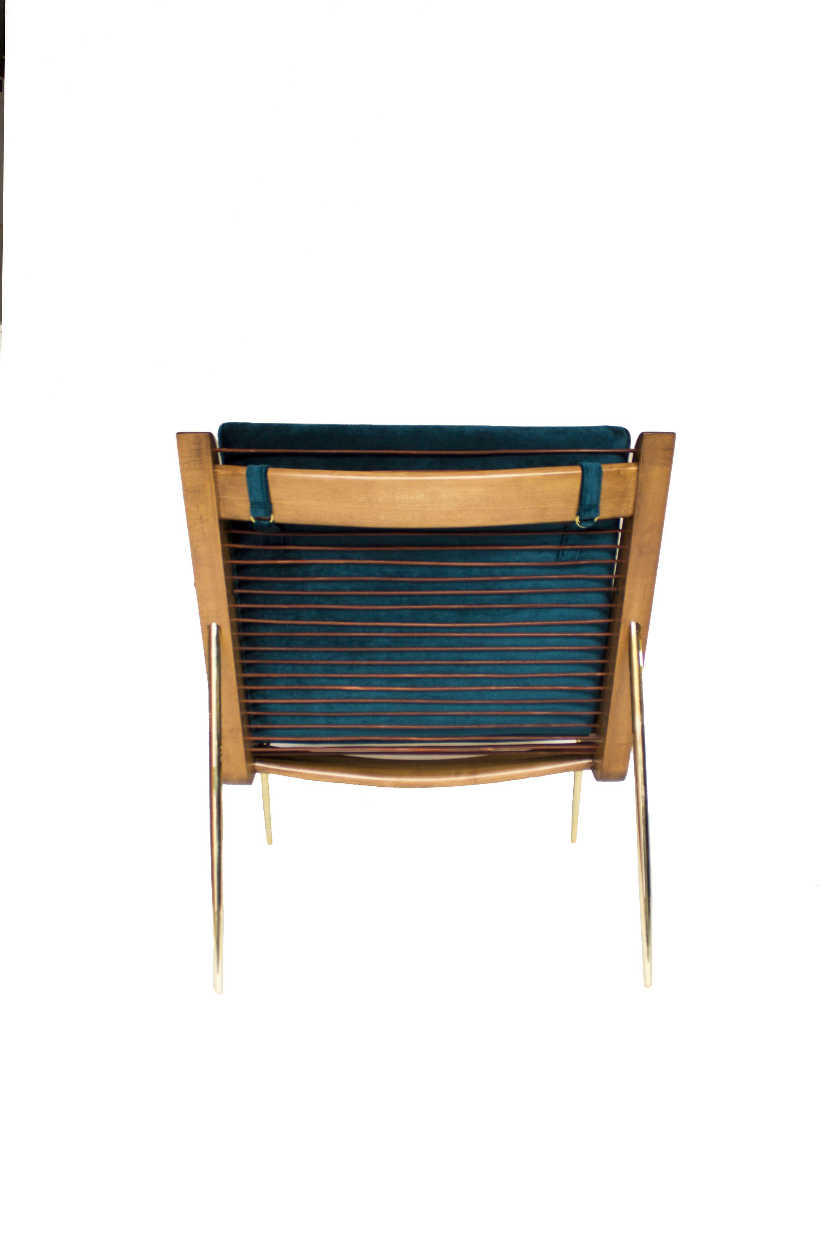 Leon Leon Design Walt Chair Maple Wood Brass Blue Velvet Natural Leather